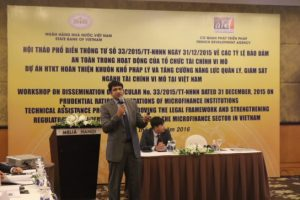 """Workshop on """"Dissemination of Circular No.33/2015/TT-NHNN dated 31 December, 2015 on Prudential ratios in operations of microfinance institutions"""""""